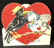 """Vtg DieCut Valentines Day Card Crow Wearing Straw Hat """"Be My Pigeon� on Branches"""