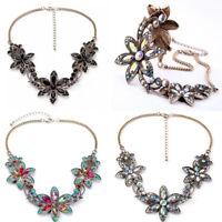Women Crystal Flowers Statement Necklace Pendant Chain Bib Choker Chunky Jewelry