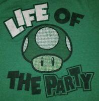 MEDIUM Life Of The Party Super Mario Bros  one Up Mushroom t-shirt 1up retro