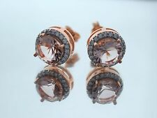 18K Rose Gold Over Sterling Silver Round Solitaire Morganite Halo Earrings 3.5Ct