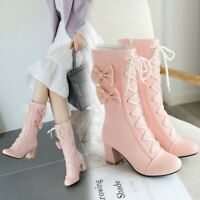 New Women Winter Block Heels Ankle Boots Lolita Sweet Bowknot Girl Shoes Plus sz