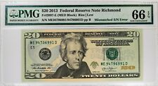 2013 $20 FEDERAL RESERVE NOTE RICHMOND MISMATCHED SERIAL NUMBER ERROR PMG 66 EPQ