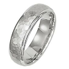 14K WHITE GOLD MENS WEDDING BAND RING HAMMERED FINISH 6.5MM