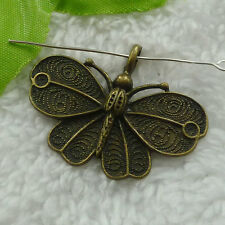 Free Ship 32 pieces bronze plated butterfly pendant 42x32mm #1286