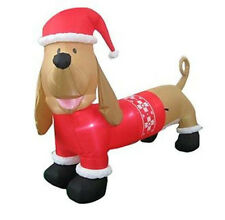 CHRISTMAS  SANTA DACHSHUND HOT DOG WEINER DOG SWEATER AIRBLOWN INFLATABLE  7 FT
