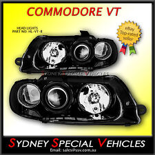 VT COMMODORE BLACK PROJECTOR HEADLIGHTS SS MONARO HSV SEDAN WAGON UTE WH