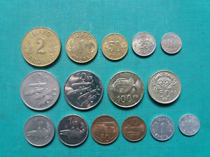 ICELAND 1,2,10,50,100 KRONE, 50,25,10 ORE COINS. TOTAL 15 COINS.
