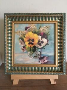 """Vintage/country Style Floral Picture In A Decorative Green/Gold Frame 10"""" Sq"""