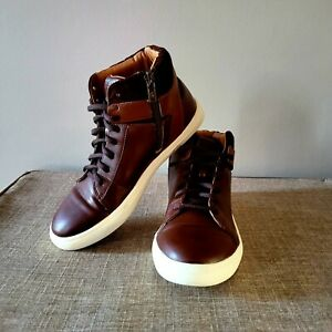 Frye Boys Mark High Lace And Zip High Top Size 4 Dark Brown Cognac