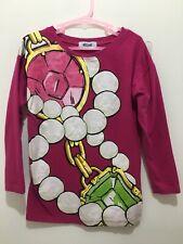 Girls Designer Moschino Dark Pink Pearl Jewel Chain Print Long Sleeve Top 6yrs🎀