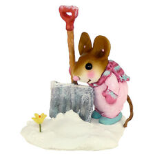 EARLY BLOOMER by Wee Forest Folk, M-390, Pink Snowsuit, Winter Mouse with Shovel