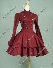 Victorian Lolita Military Dress Gown Steampunk Punk Theater Clothing V C022 XXL