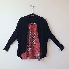Moth Anthropologie Cotton Viscose black open front draped cardigan Sz Xs PERFECT