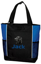 Black Labrador Retriever Embroidered Panel Tote