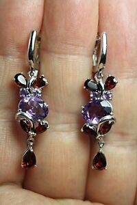 Earrings Purple Amethyst Red Garnet Genuine Gems Sterling Silver Cluster Drop