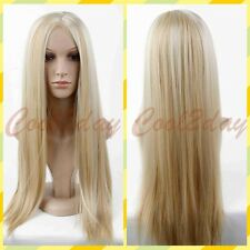 Womens Long Blonde Mix Straight Natural Wig Hair Full Wigs Ombre Wigs Lolita Wig