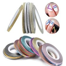 TAPING NAIL ART GLITTERY SHIMMERY Nail Sticker Rolls 30 Colours 1mm 2mm 3mm