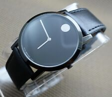 AUTH SWISS MOVADO XL BLACK PVD CASE,LEATHER BAND,MEN'S MODEL# 0606256,RETAIL$595