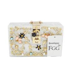 Black Acrylic Crystal Evening Box Clutch Bag Flower Party Shoulder Handbag Purse