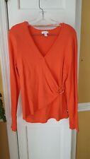 Charter Club Women's Long Sleeve Wrap Front Orange Sweater Size XL