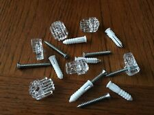"""6 x Clear Mirror Wall Mounting Clip Bracket 1/8 """" thick + screws + wall anchors"""