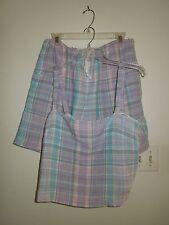 NWOT Lauren by Ralph Lauren 2pc. 100% Linen Pastel Plaid Short Set Large