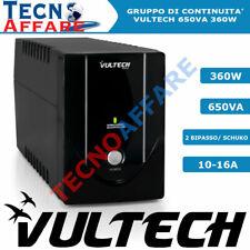 UPS Gruppo di continuità 650VA 360W per pc dvr telecamere Stabilizzatore Vultech