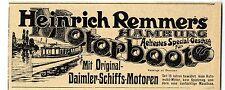 Heinrich Remmers Hamburg Motorboote Daimler- Schiffs- Motoren Hist. Annonce 1904