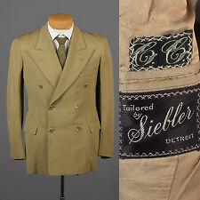 39S Vintage 1940s 40s Peak Lapel DB Double Breasted Jacket Sport Coat Blazer
