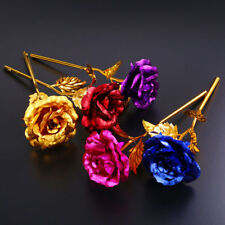 24k Gold Plated Blue Rose Flowers Anniversary Mothers Day Girlfriend Gift