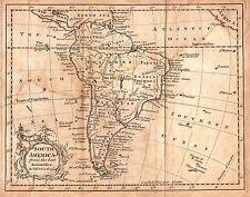 Rare Original 1759 Antique World Map SOUTH AMERICA Argentina Brazil Amazon Peru
