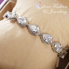 Cubic Zirconia Tennis White Gold Filled Fashion Bracelets