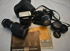 Olympus Om-2 Black Body Camera with 50mm, 24mm, 80-200mm Lenses and Accessories