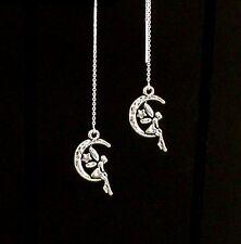 *IAJ* .925 STERLING SILVER Ear Threader Earrings w/ Playful FAIRY on the Moon