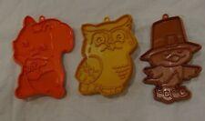3 FALL ANIMAL Hallmark Cookie Cutters OWL SQUIRREL CHICK BIRD THANKSGIVING VTG