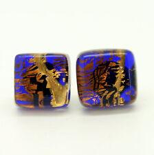 Oro, Brown and Azul Hecho A Mano Auténtico Murano Veneciano Vidrio Dormilonas