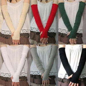 Lady Fashion UV Sun Protect Arm Sleeves Long Fingerless Cotton Gloves New