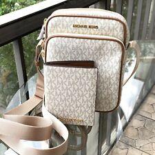 Michael Kors Women Leather Medium Crossbody Flight Bag Messenger+passport Wallet