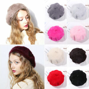 Beret Hat Thicken Warm Faux Rabbit Fur Casual Autumn Winter Women Girls Beret