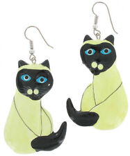 Earrings Siamese Cat Hand Painted Wood Dangle Vintage Charm Jewelry Art New