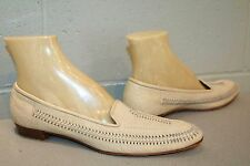 10 N Beige Laced Moccasin Leather Vtg 1970s DelFino Pointed 70s Loafer Flat Shoe