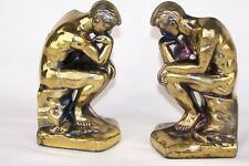 Vintage Bookends THINKER Nude Thinking Man © 1928 Cast Metal Golden SCC-7276