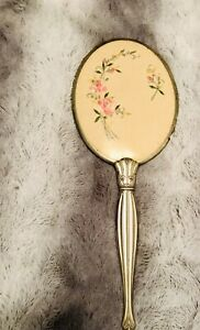 Antique vintage silver brass hand held vanity mirror Beauty