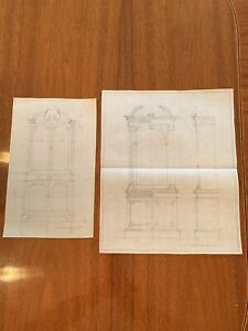 Rare Lot Of 2 Vintage Artist Pencil Drawings Sketches Furniture 1920's Mint