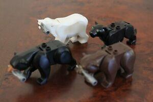 1x Lego Brown Bear, Black Bear, White Polar w fish OR Panther *RARE*