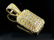 Men's 10K Yellow Gold Real Diamond Puff Pillow Pendant Charm 9/10 ct 1 Inch