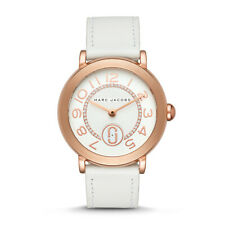 NWT Marc Jacobs Women's Riley Rose Gold Tone White Strap Watch 37mm MJ1616 $225