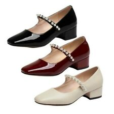 Women's Block Heel Pumps Mary Janes Square Toe Ankle Strap Casual Shoes 34/39 L