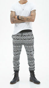 50% OFF! AUTH FOREVER 21 MEN'S TRIBAL PRINT JOGGERS SWEATPANTS X-LARGE US$24.90