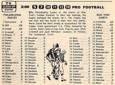 1964 NFL TV FOOTBALL AD~PHILADELPHIA EAGLES vs NEW YORK GIANTS~NORM SNEAD